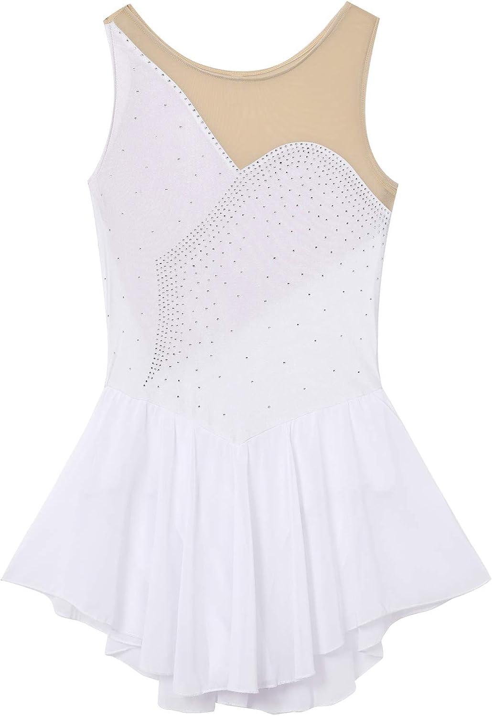 iixpin Womens Mesh Spliced Bodice Figure Ice Skating Roller Skating Ballet Dance Leotard Chiffon Dress