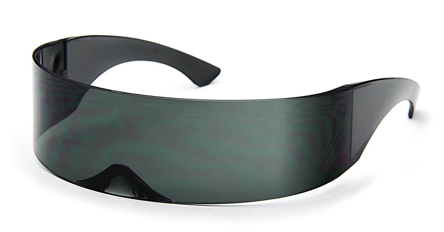 8297a6d0fd9be Amazon.com  Futuristic Cyclops Sunglasses Wrap Around Shield Monoblock 100%  UV400