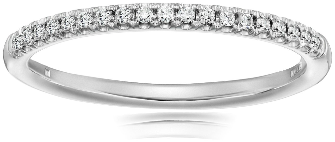 10k White Gold Diamond Prong Anniversary Ring (1/10 cttw, I-J Color, I3 Clarity), Size 6