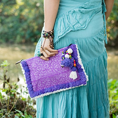 Woman's Holder Purple Bag Changnoi Trade Clutch Ipad Pom with Fair Unique Pom q6PSXt