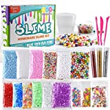 KUUQA 24 Pack Slime Making Kit Supplies Including Micro Foam Beads Styrofoam Balls Fishbowl Beads Confetti Fruit Slices Slime Tools for DIY Craft(Contain No Slime)