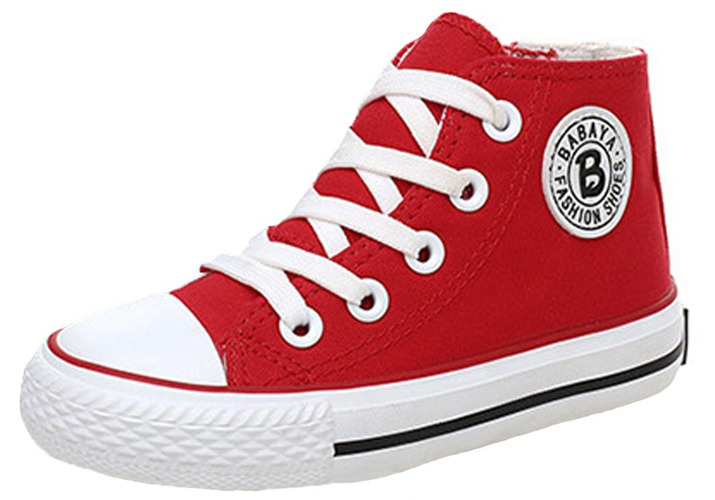 iDuoDuo Classic Kids Casual Comfort Zipper Lace Up High Top Canvas Shoes (Toddler/Little Kid/Big Kid) (13.5 M US Little Kid, Red)