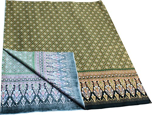 RaanPahMuang Thick Printed Batik Cotton Fabric in Thai Print 70x40 inches, Green
