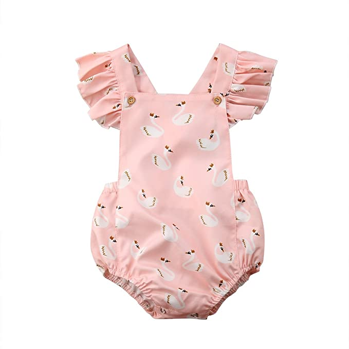 0805860d8ef doublebabyjoy Baby Girls Flower Print Buttons Short Sleeve Ruffles Backless  Pink Romper Bodysuit Jumpsuit (Pink