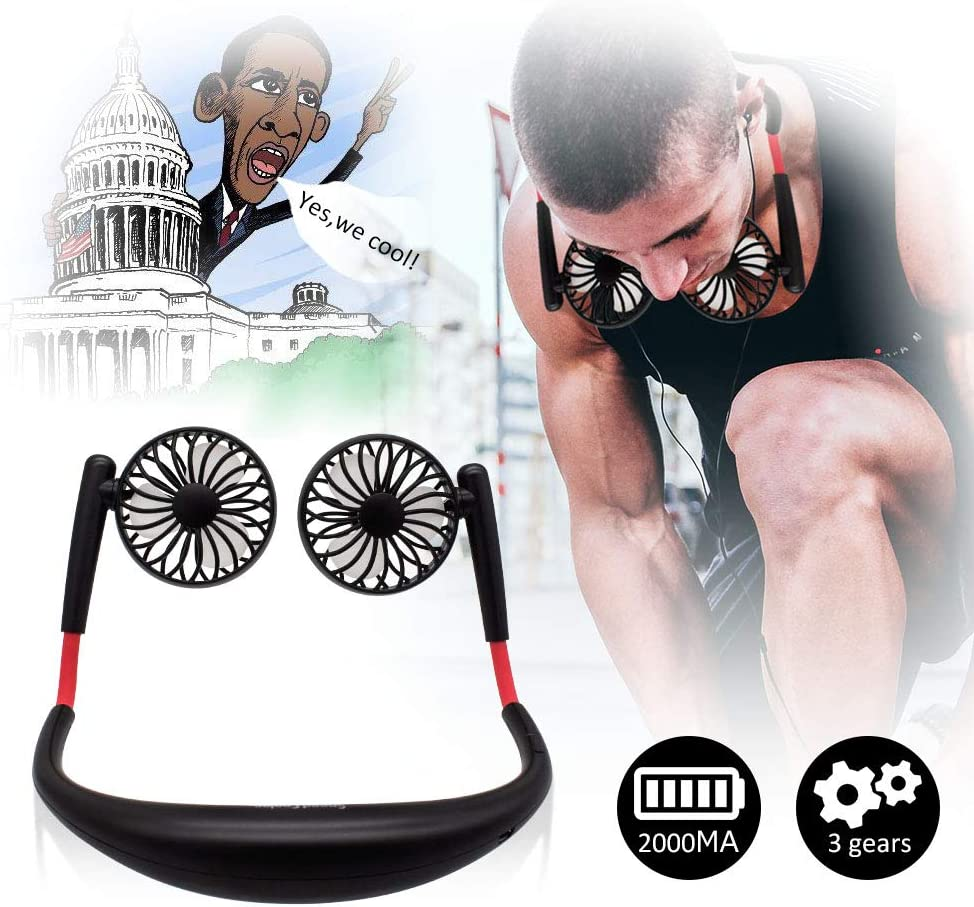 TOA Small Fan Portable Fans Portable Mini Portable Fan Hands Free Fan USB Charging Fan Neck Fan Easy to Adjust Direction. Suitable for Jogging, Cycling, Outdoor, Working, Traveling Black