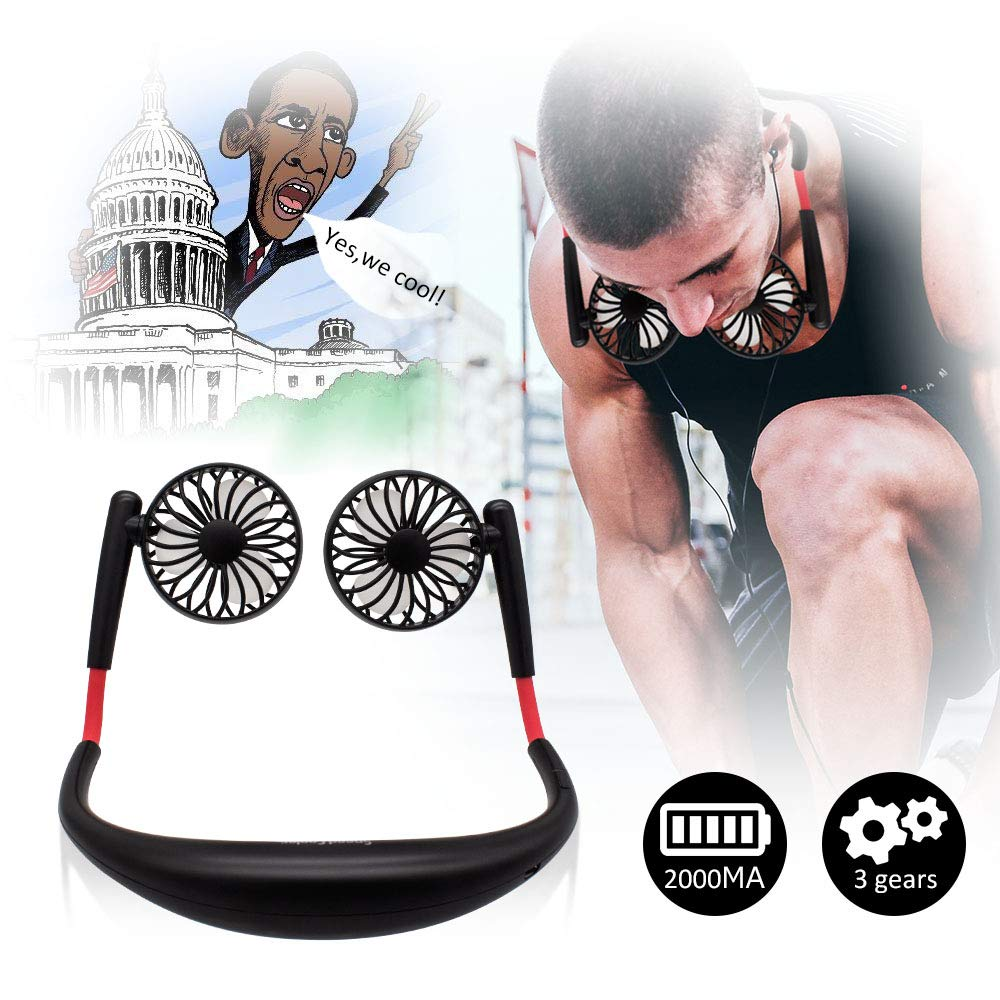 TOA Small Fan Portable Fans Portable Mini Portable Fan Hands Free Fan USB Charging Fan Neck Fan Easy to Adjust Direction. Suitable for Jogging, Cycling, Outdoor, Working, Traveling (Black)
