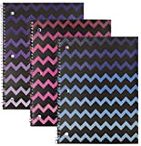 Emraw Chevron Ombre Glitterd Notebook Spiral with 70 Sheets of Wide Ruled White Paper - Set Includes: Purple, Pink & Blue (3 Pack)
