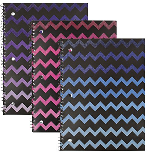 Emraw Chevron Ombre Glitterd Notebook Spiral with 70 Sheets of Wide Ruled White Paper - Set Includes: Purple, Pink & Blue (3 Pack) by Emraw