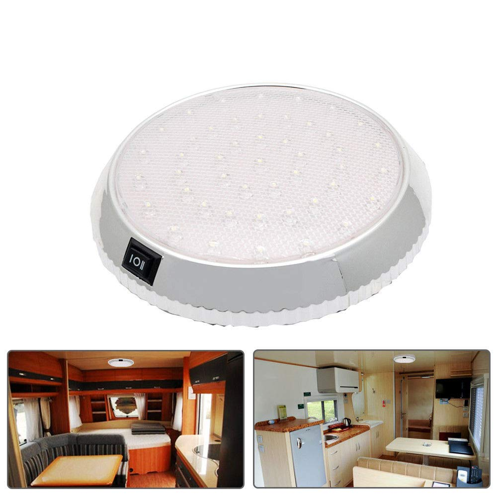 MASO Car Interior Light DC12V 46LEDs Dome Roof Ceiling Interior Light with On/Off Switch for Caravan Campervan Motorhome Boat Kitchen Living Room
