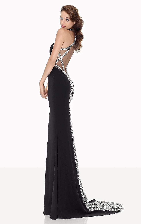 Amazon.com: Top-Sexy Black Halter Neck Beaded Slim Gown Dress Party Evening Elegant: Clothing