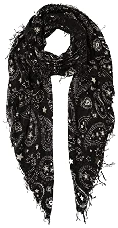 c9722c6d1 Chan Luu Women's Paisley and Stars Print Silk And Cashmere Scarf (Black)