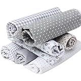 Souarts Gray Cotton Craft Fabric Bundle Squares Patchwork DIY Sewing Scrapbooking Quilting Dots Pattern Artcraft