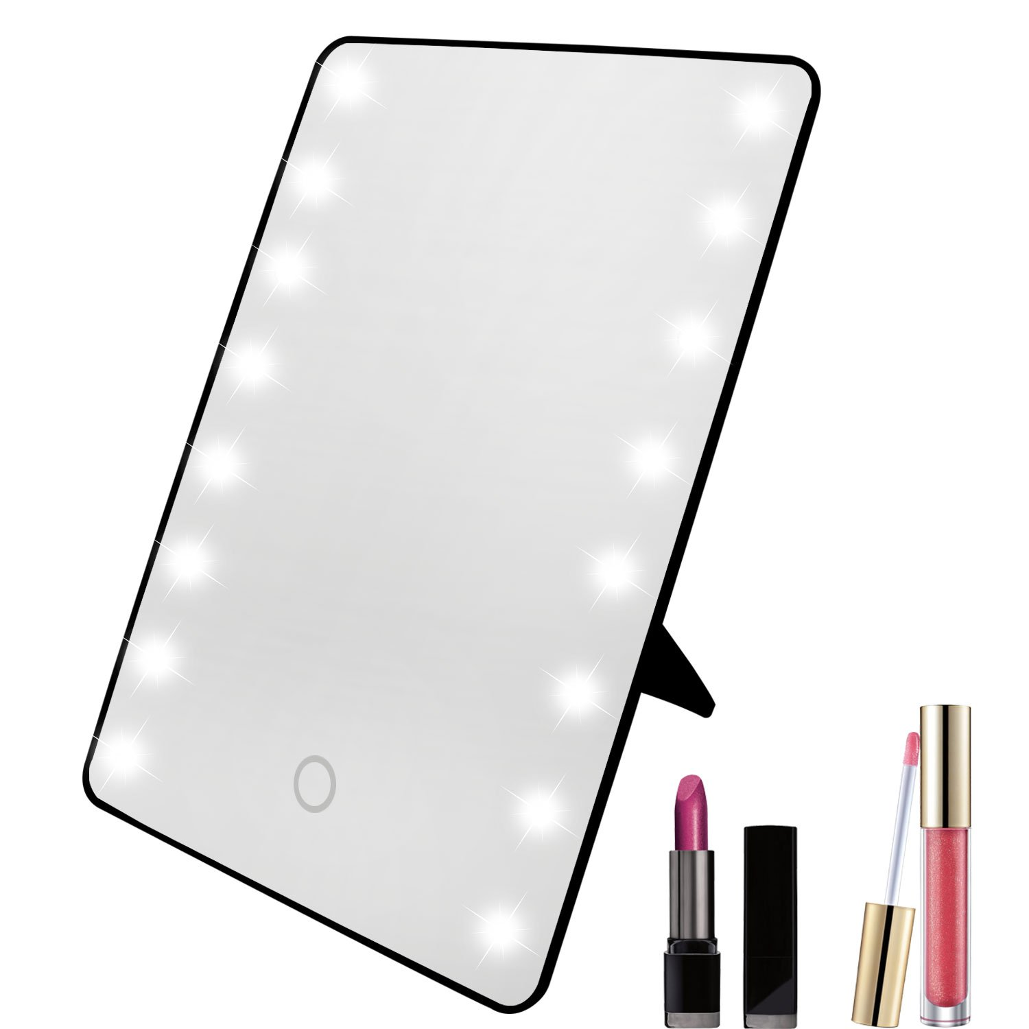 Xcellent Global 16 LED Makeup Mirror Cosmetic Vanity Mirror Touch Screen Dimmable, Black HG158B