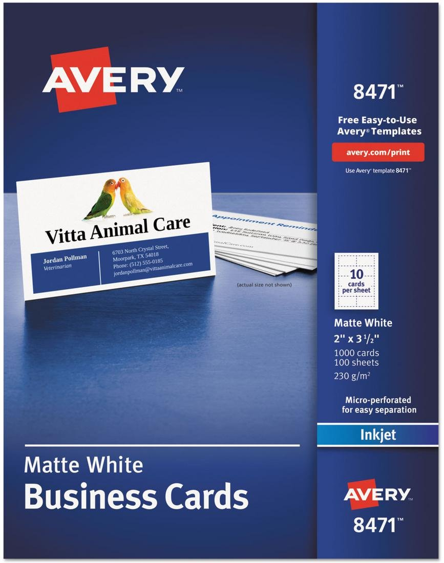 AVE8471 - Printable Microperf Business Cards