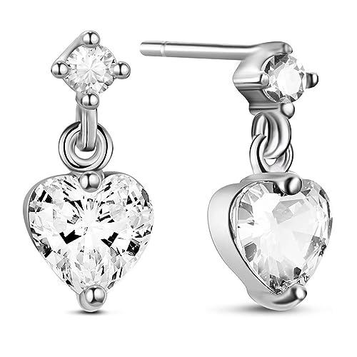 SHEGRACE 925 Sterling Silver Platinum Plated Zircon Earrings for Women,Earring Studs Gift for Women