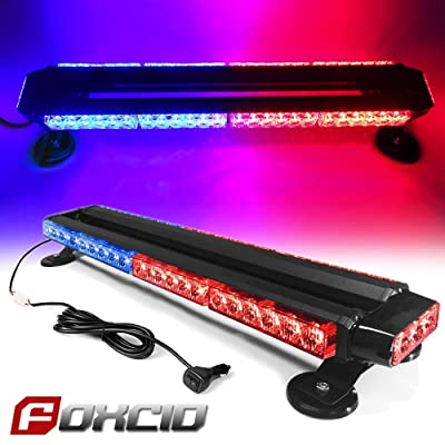 "FOXCID Red Blue 26"" 54 LED Emergency Warning Security Roof Top Flash Strobe Light Bar with Magnetic Base, for Plow or Tow Truck Construction Vehicle: Automotive"