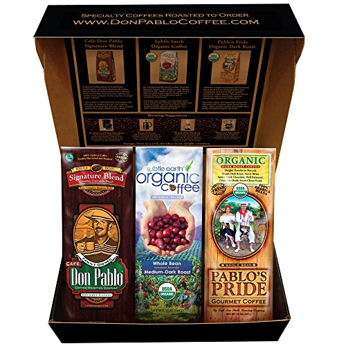 Cafe Don Pablo Special Gift Box Coffee Sampler - Variety of 3 Bags Whole Bean Coffee 12oz - Medium Dark Roast - Dark Roast - Signature Blend