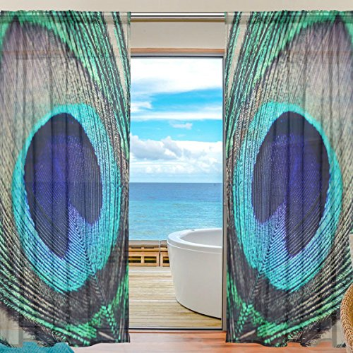 INGBAGS Bedroom Decor Living Room Decorations Vintage Peacock Feather Pattern Print Tulle Polyester Door Window Gauze / Sheer Curtain Drape Two Panels Set 55x84 inch ,Set of 2