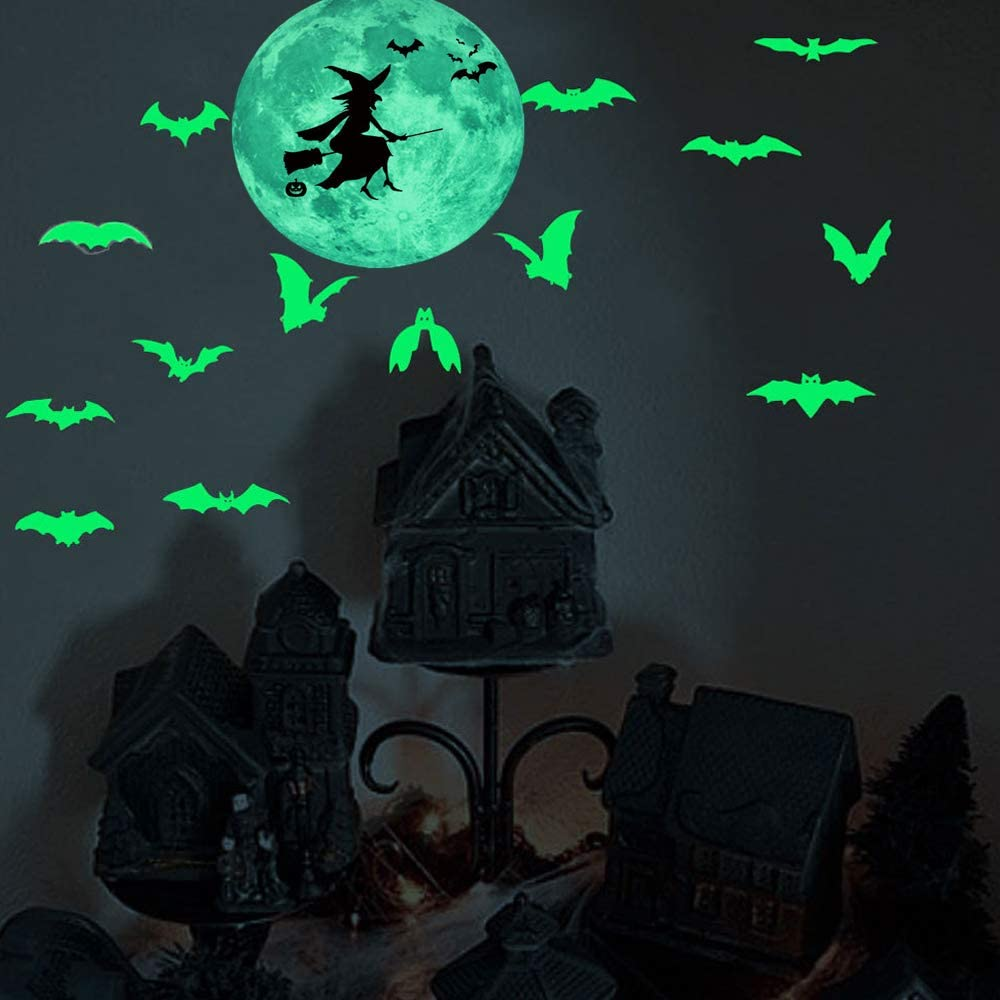 Halloween Luminous Moon Bat Wall Sticker Glow in Dark Decal