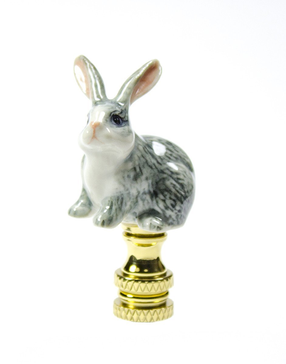 Gray Rabbit Finial Hand Painted Porcelain