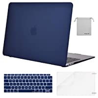 Mosiso MacBook Air 13 Case 2018 Release A1932 with Retina Display, Plastic Hard Case Shell & Keyboard Cover & Screen Protector & Storage Bag Only for Newest MacBook Air 13 inch, Navy Blue