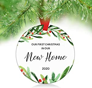 """ZUNON Our First Christmas in Our New Home Ornaments 2020 New Couple Married Wedding Decoration 3"""" Ornament (New Home Ornament 1)"""
