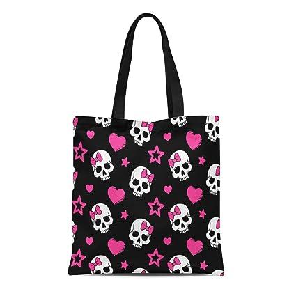34711f825f92 Amazon.com: Semtomn Cotton Canvas Tote Bag Pink Pattern Hearts and ...