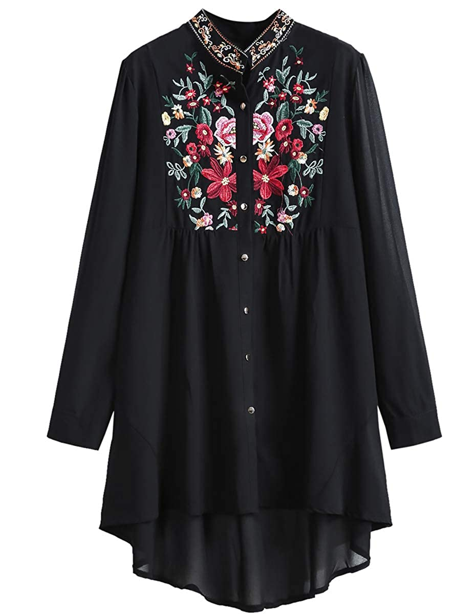 aaada4773debb0 Romwe Women's Chiffon Embroidered Floral Button Down Long Sleeve Loose  Blouse Top Black(One Size) at Amazon Women's Clothing store: