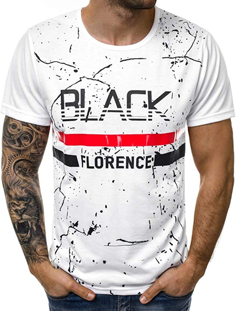 Mens Summer New Printed Round Neck Short Sleeves Fashion Personality Blouse Top Easytoy Men T Shirt