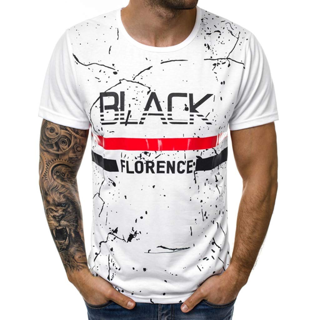 Tops Men's Short Sleeve T-Shirt Crew Neck T-Shirts Cotton Fitted Graphic Printed Casual Big and Tall Tee Shirts White