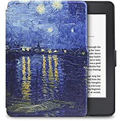 """WALNEW Ultra Slim and Lightweight Colorful Painting Leather Cover Case for Kindle Paperwhite tablet with 6"""" Display and Built-in Light,Blue Night"""