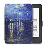 "Walnew the Thinnest and the Lightest Colorful Painting Leather Cover Case for Kindle Paperwhite (Fits All Versions: 2012, 2013, 2014 and 2015 All-new 300 PPI Versions)tablet with 6"" Display and Built-in Light (For Kindle Paperwhite) (Blue Night)"