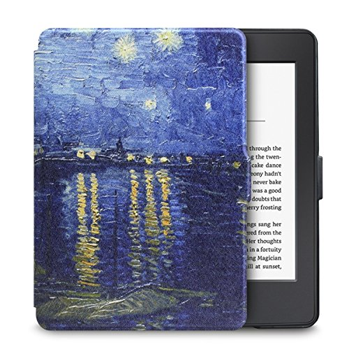 WALNEW Case for Kindle Paperwhite PU Leather Case Smart Protective Cover fits All Paperwhite Generations Prior to 2018 (Not fit All-New Paperwhite 10th Generation) (Best Lighted Cover For Kindle Touch)