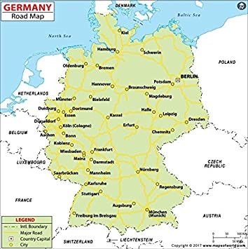 Road Map Of Germany 2017.Germany Highway Map 36 W X 36 06 H Amazon Co Uk Office Products