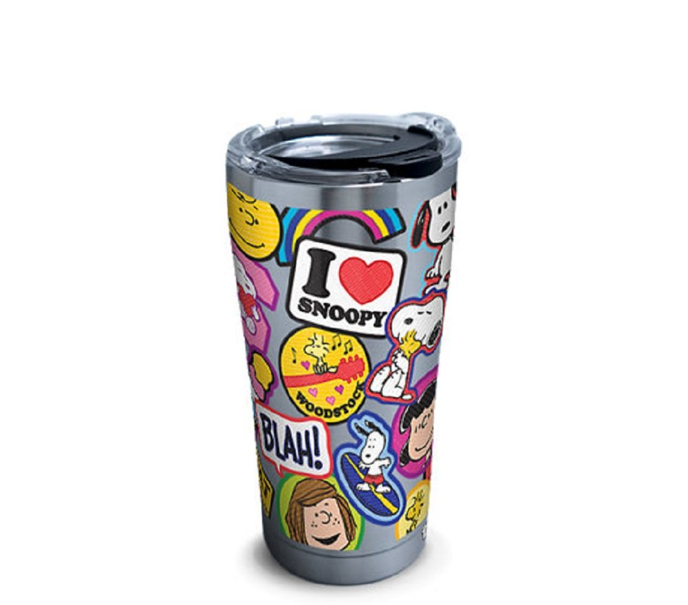 Tervis 1301552 Peanuts-Sticker Collage Insulated Tumbler with Clear and Black Hammer Lid, 20 oz Stainless Steel, Silver