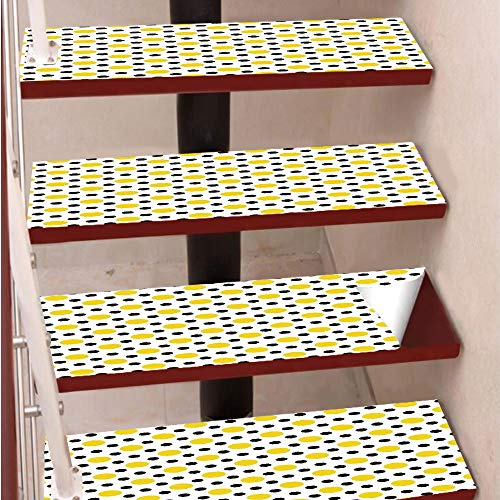 3D Print Non-Slip PVC Stair Pads,Self-Adhesive Steps Sticker,Staircase Treads Protector,Different Size and Color Polka Dots Playful Trendy Cultural Artsy Motif,for Home Decoration(9.8X39 inch) Set of