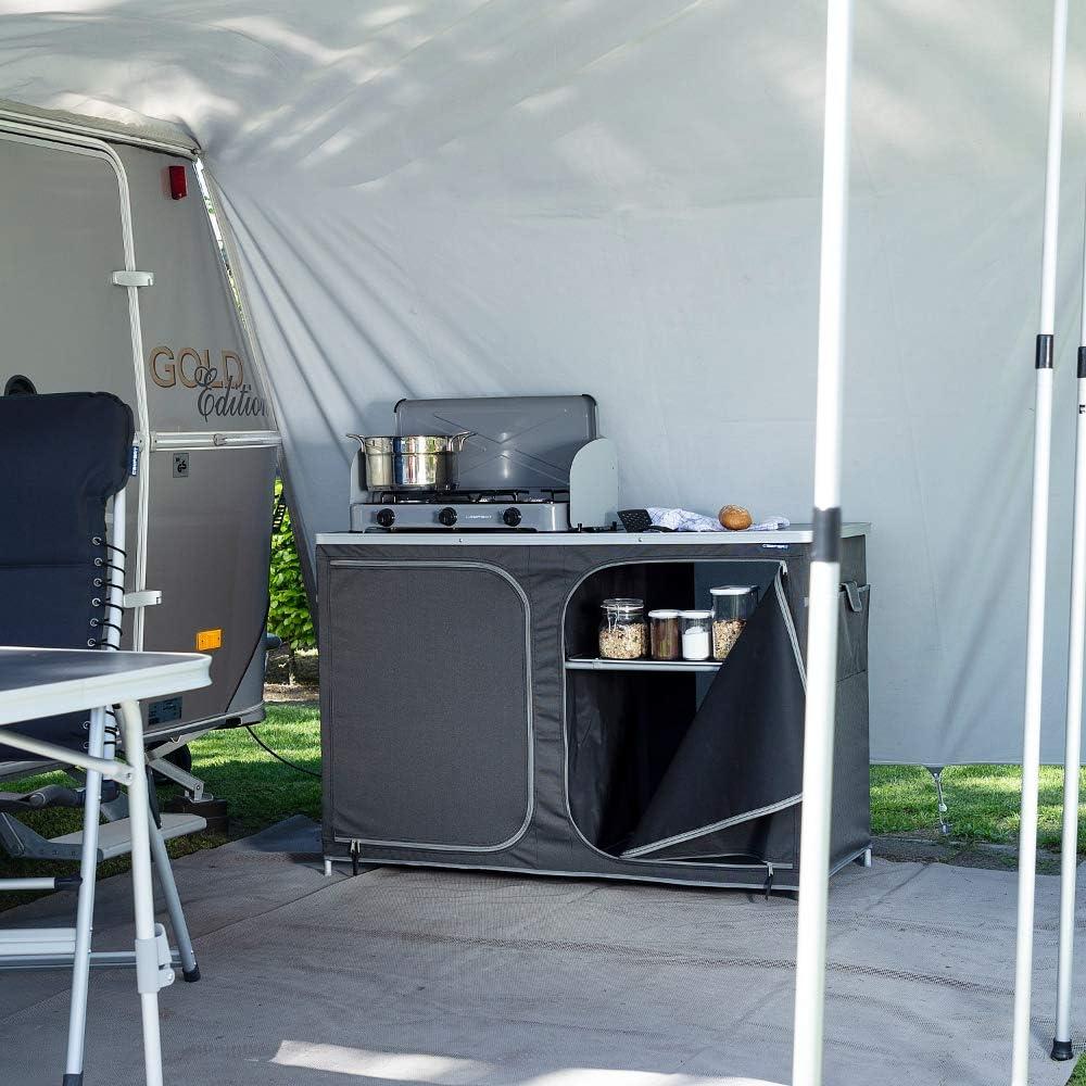 CAMPART Travel KI-0726 Cocina de Camping Almeria XXL, con Paravientos, Bolsa de Almacenamiento incluida, 2 Puertas, Unisex Adulto, Gris