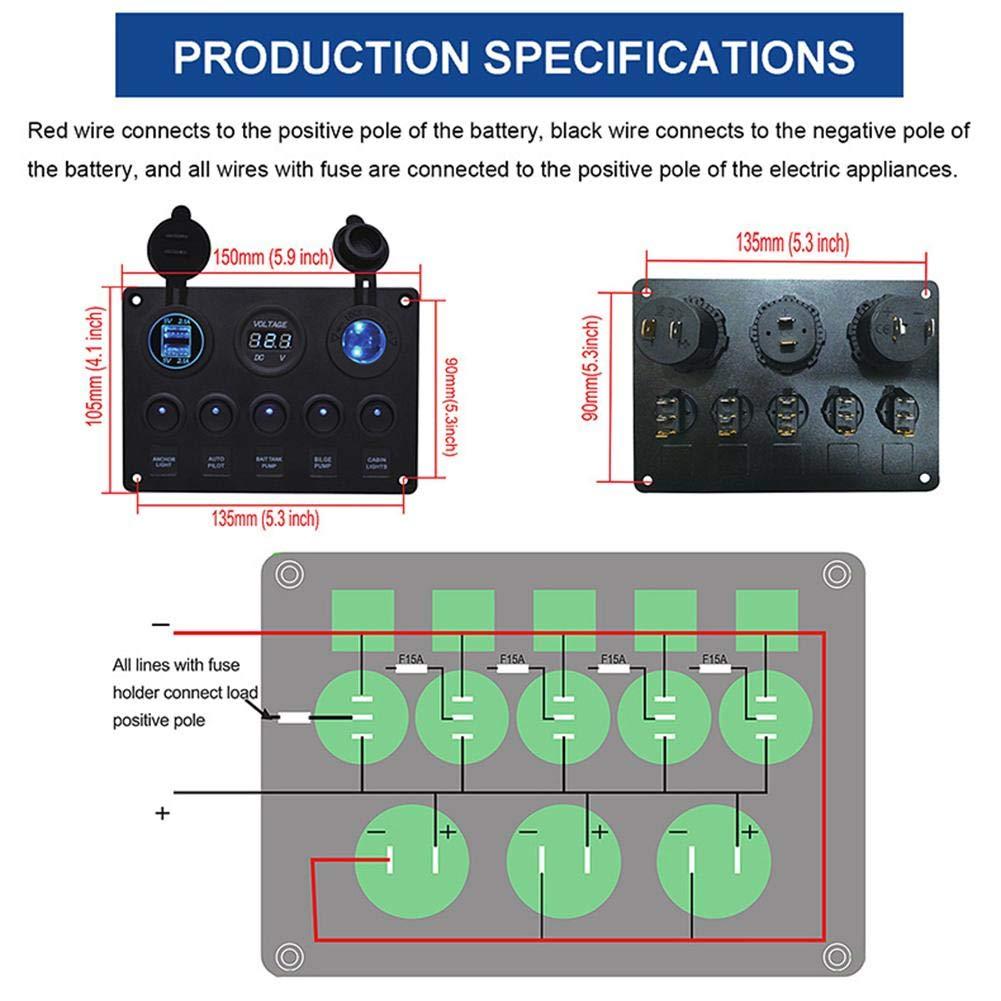 Febelle Panneau de Commande 5 interrupteurs avec 2 Ports USB et ℉ Voltm/ètre LED /à Bascule 12 V//24 V Voiture Bateau Marine