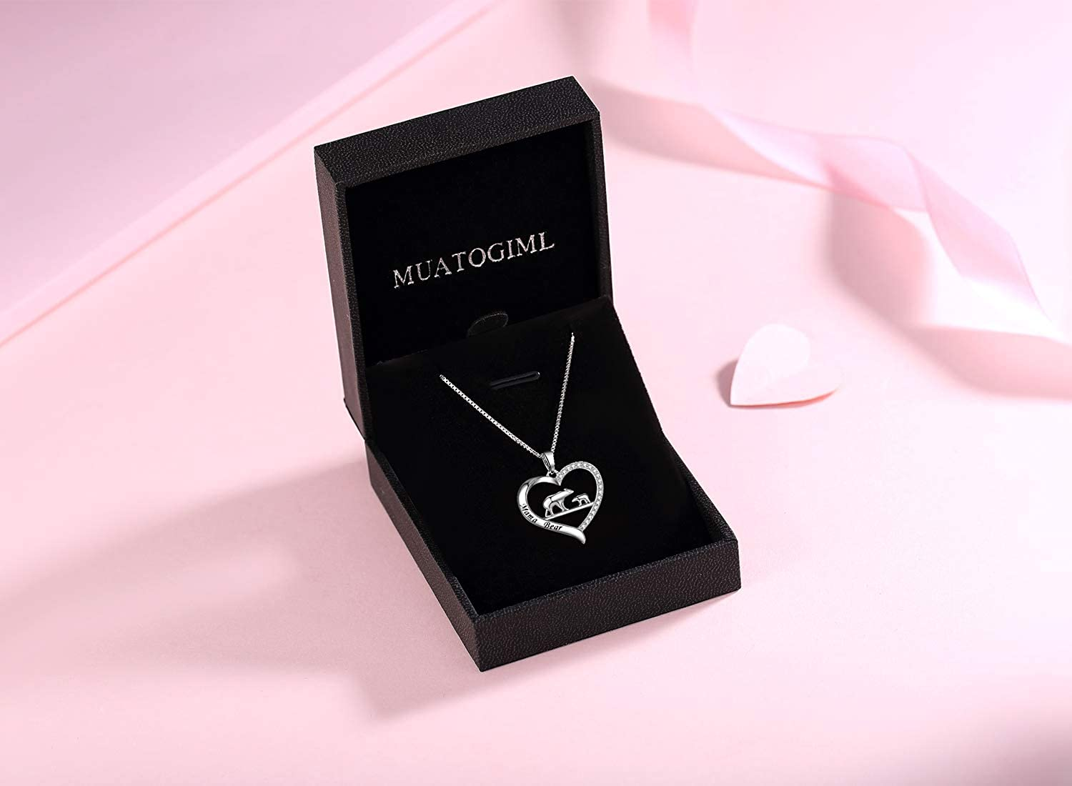 MUATOGIML 925 Sterling Silver Mama Bear Love Heart Pendant Necklace Mother Son Daughter Jewelry Gifts for Women Mom Family