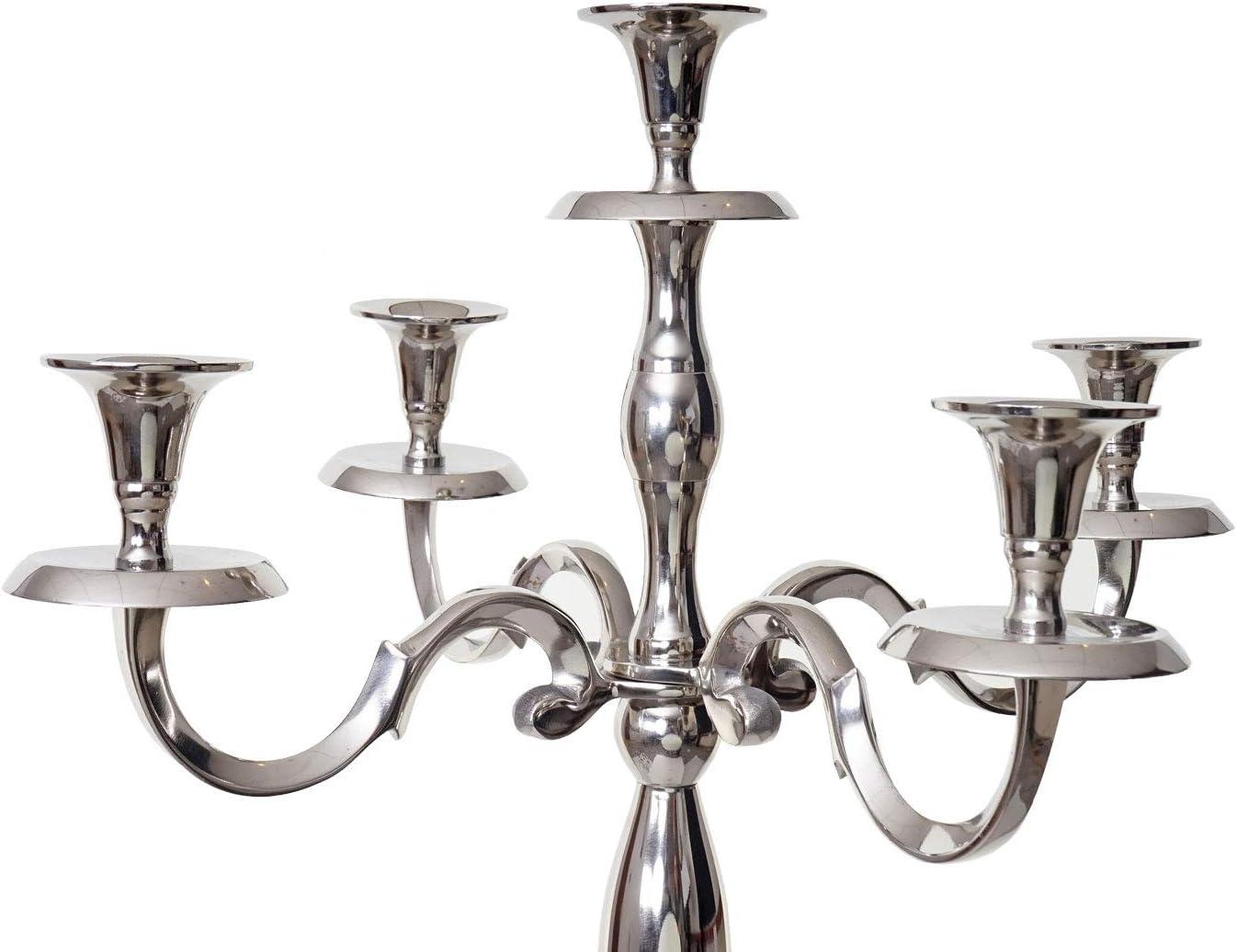 Chandelier cand/élabre /à 5 Branches en Aluminium 118cm Massif 3,6kg ~ Couleur Mendler Bougeoir HWC-D81 Argent