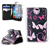 Lumia 435 Case, CoverON [CarryAll Series] Protective Wallet Pouch Flip Stand Design Phone Cover Case for Microsoft Lumia 435 - Pink Butterfly
