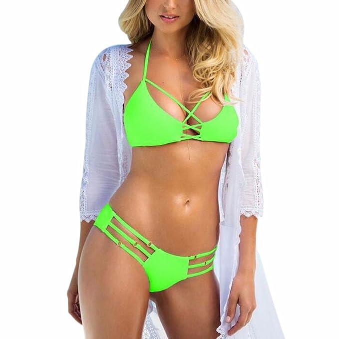 Z Mujeres Playa Bandage Bikini Conjuntos Rellenado Sujetador Playa Fiesta Trajes De Baño De Dos Piezas: Amazon.es: Ropa y accesorios