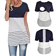 Womens Maternity Nursing Tops Short Sleeve Layered Breastfeeding Shirt,S-XL (Navy, XL)