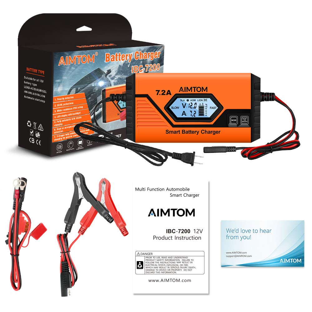 AIMTOM 7.2Amp Smart Battery Charger 9 Stages Ultra-Safe 12V Intelligent Maintainer for Car RV SUV Truck Motorcycle Boat Lawn Mower Use Lithium LIFEPO4 Batteries IBC7200 Fits All Sealed Lead Acid