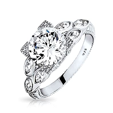 Bling Jewelry Sterling Silver Vintage Style 2ct CZ Round Marquise Engagement Ring 2ZPLCV15w