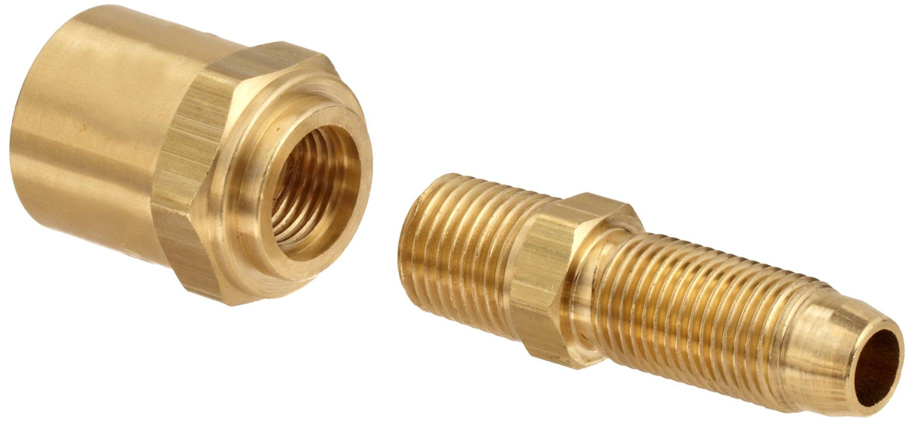 Dixon BN32RU68 Brass Reusable Fitting, Adapter, 1/4'' NPTF Male x 3/8'' Hose ID, 11/16'' Hose OD