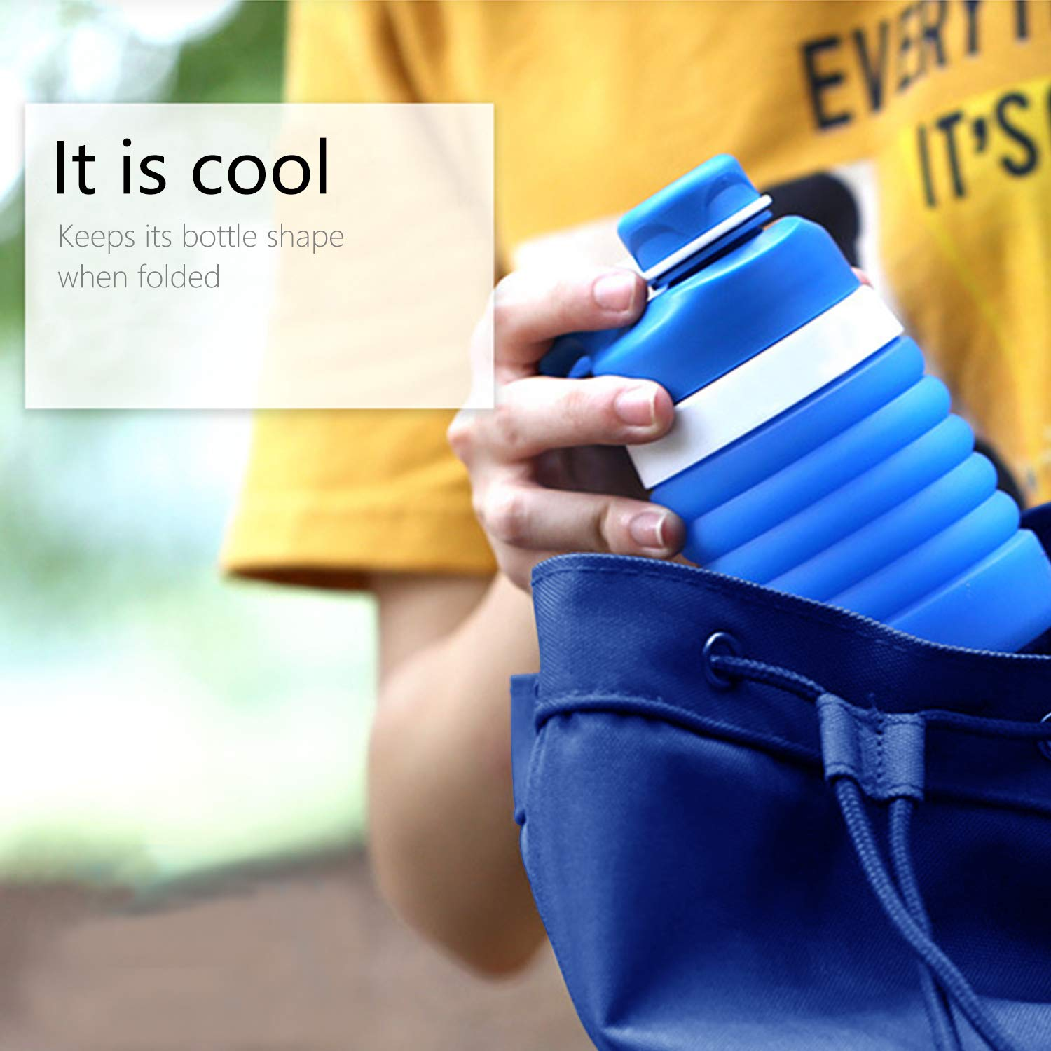 Outdoor and Sports MEAUOTOU Collapsible Silicone Water Bottle 18.8 oz Food-Grade Silicone Leak Proof Water Canteen for Home Blue
