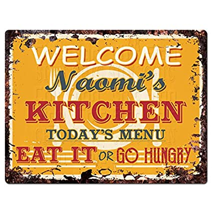 Amazon Com Welcome Naomi S Kitchen Chic Tin Sign Vintage