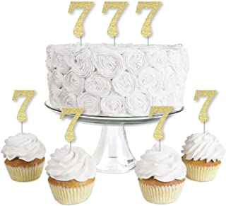 product image for Gold Glitter 7 - No-Mess Real Gold Glitter Dessert Cupcake Toppers - 7th Birthday Party Clear Treat Picks - Set of 24