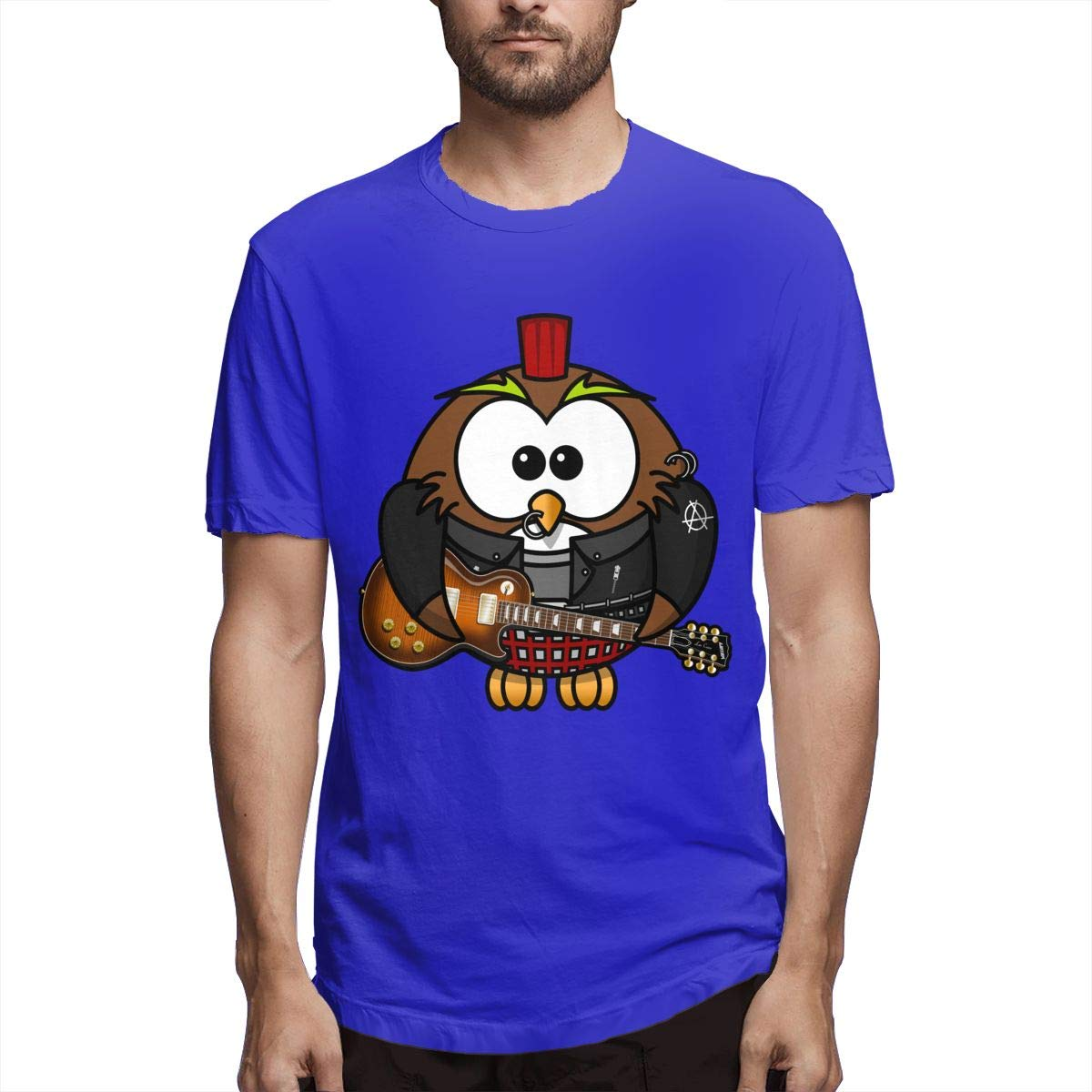 Male Tees for Best Graphic Owl Guitar Rock and Roll The Guitar Birthday Gift Workwear Blue L by D845Q
